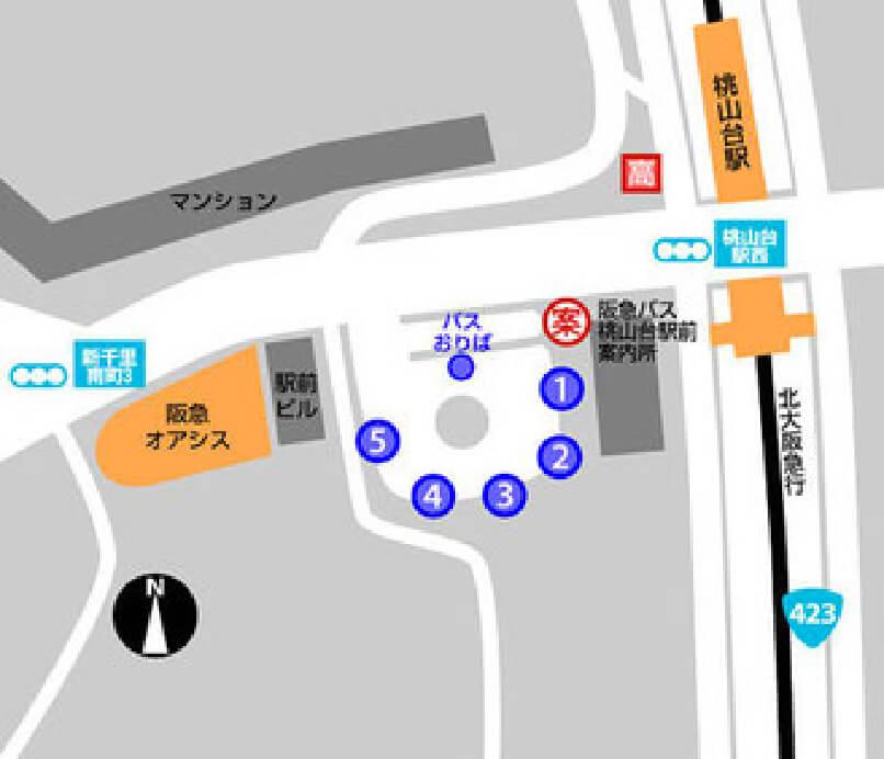 桃山台駅からお越しの方のMAP